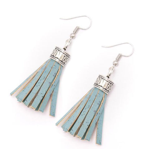 Angelco Accessories Coloured Cork Tassel Earrings - blue