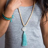 Angelco Accessories beaded turquoise tassel necklace