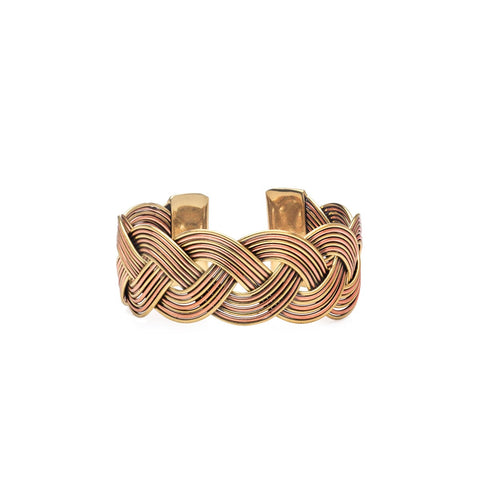 Angelco Accessories copper and gold finish braided cuff