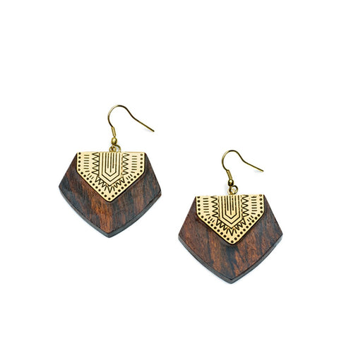 Angelco Accessories Rosewood shield earrings