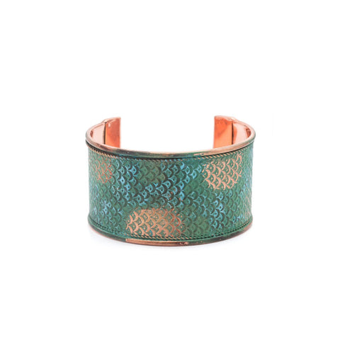 Angelco Accessories antique gold and teal patina cuff