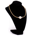 Large solitaire pearl cork necklace