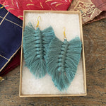 Angelco Accessories Macrame feather earrings