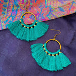 Small hoop fringe earrings