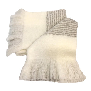 Silk Throw in Cream & Blue Stripe- 3 Left