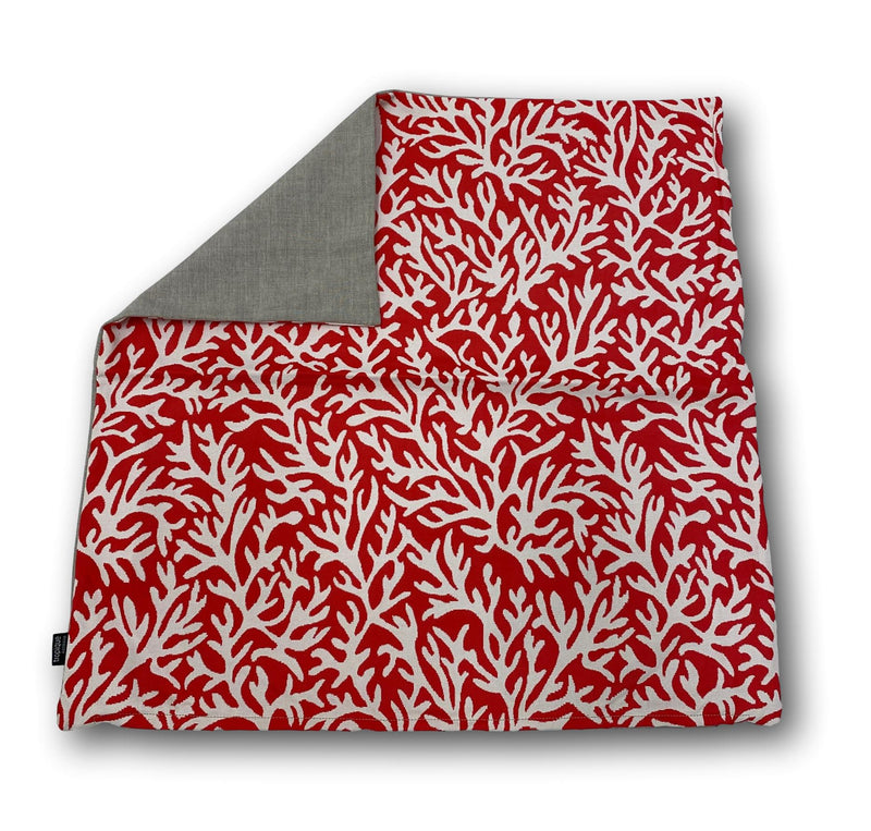 Coral Red & Cream back 60cm x 60cm
