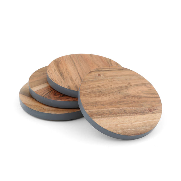 Grey Rim Wood Coaster Set