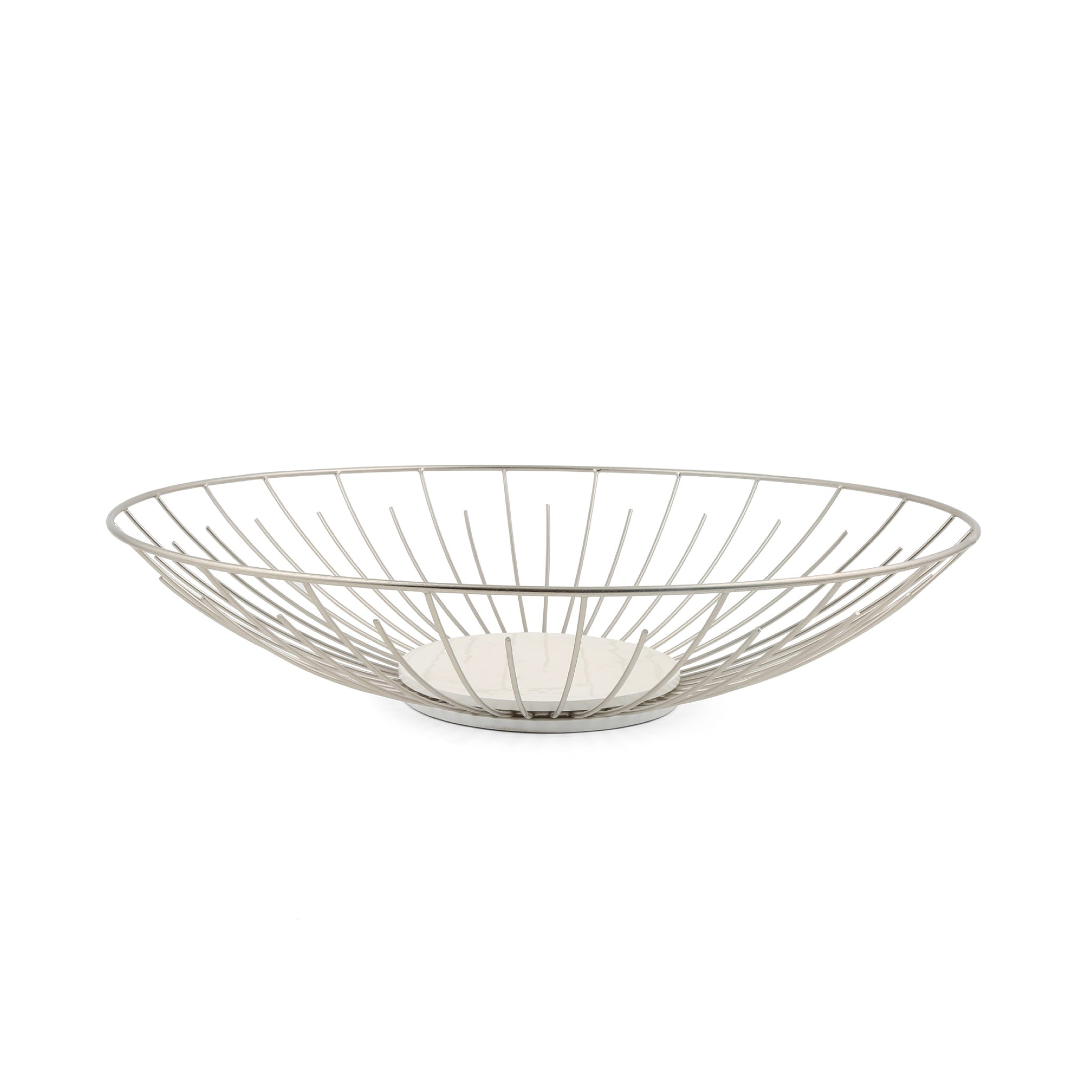 Large White Wood & Wire Bowl