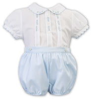 Sarah Louise White with Blue Bubble Romper