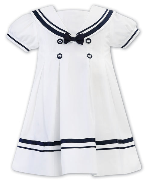 Sarah Louise Girls White and Navy Sailor Dress