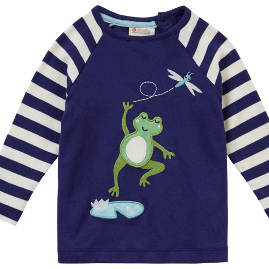 Piccalilly 'Navy Frog' Raglan Top