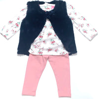 Navy Gilet girls Floral Set