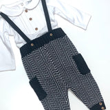 Little Gent Grey Dungaree Outfit