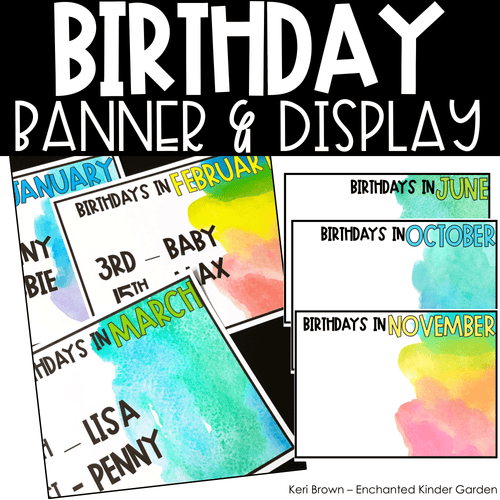 Classroom Decor - Editable Watercolor Birthday Board and Banner Display