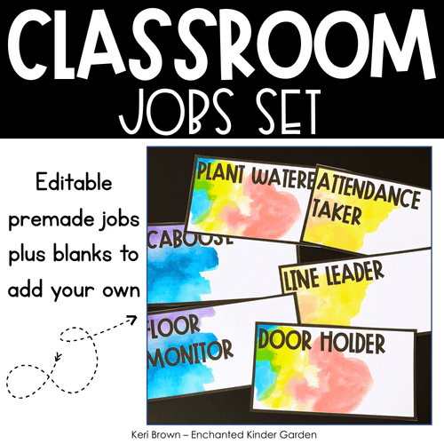 Classroom Decor - Editable Classroom Jobs with Watercolor theme