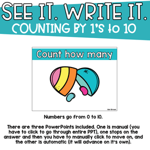 Counting by 1's to 10 - See it Write it - Counting Jellybeans
