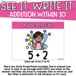 Addition within 10 - See it Write it - Fairy Stars