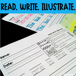 Read Write Illustrate - Mixed Vowels Writing Sheets