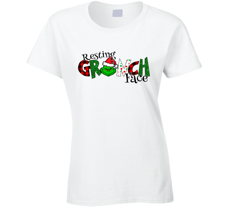 Resting Grinch Face White Ladies T Shirt