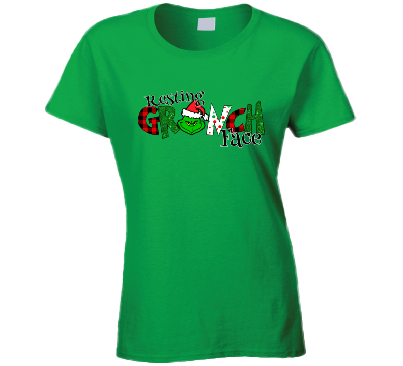 Rest Grinch Face Green Ladies T Shirt