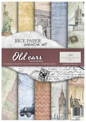 Old Cars  - Creative Rice Paper Set ,   Papers , Stencils and Foils, all co-ordinated