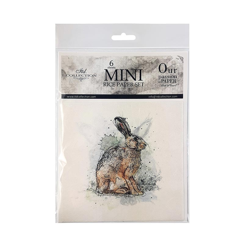 6 x  Mini Rice Paper Set Rabbit Images 14.8 x 14.8 cm