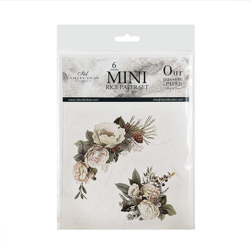 6 x  Mini Rice Paper Set Rose Images 14.8 x 14.8 cm