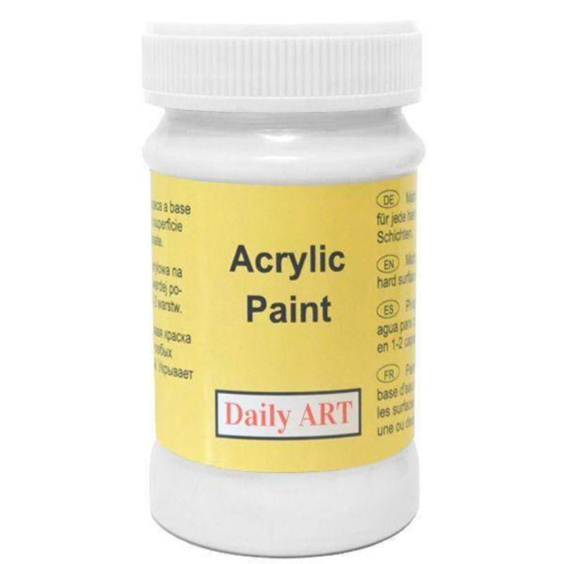 White Paint 100ml Daily Art Acrylic paint in a screw top plastic jar.