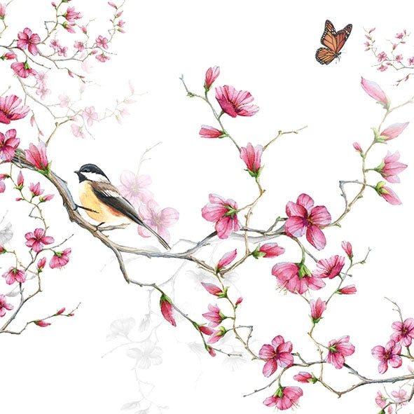 Cherry Blossom and bird napkin on white background