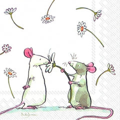 A Daisy for You IHR Napkin a grey mouse giving a white mouse a flower