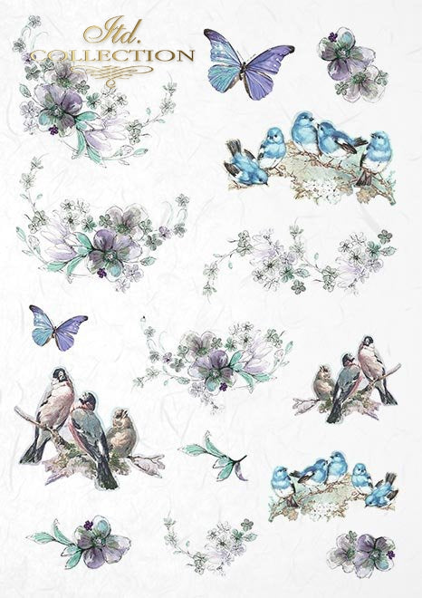 Summertime in Blue  - Creative Rice Paper Set ,   Papers , Stencils and Foils, all co-ordinated