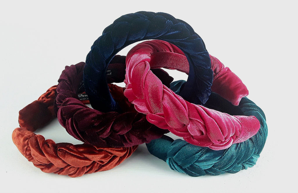 Wide Braided Chunky Velvet Hairband,  Luxury Women Headband, Gift for Her, Colours- Pink, Navy Blue, Green/Teal, Rust, Maroon