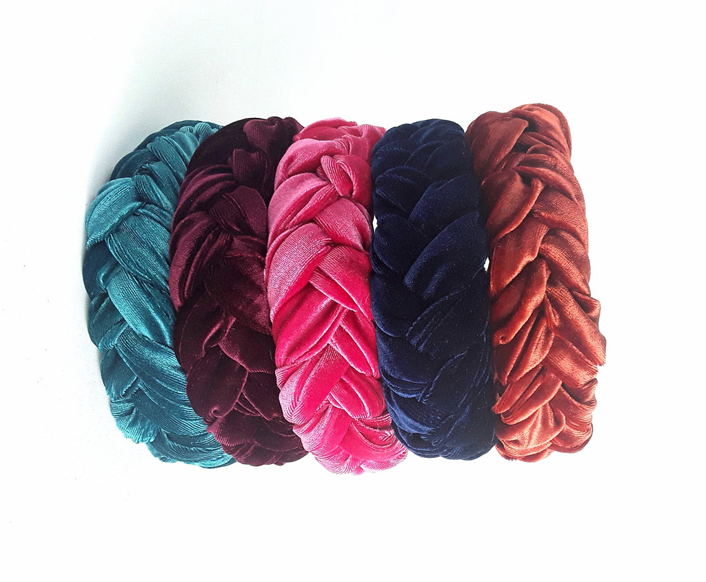 Wide Braided Chunky Velvet Hairband,  Luxury Women Headband, Gift for Her, Colours- Rust, Pink, Navy Blue, Teal / Green, Maroon