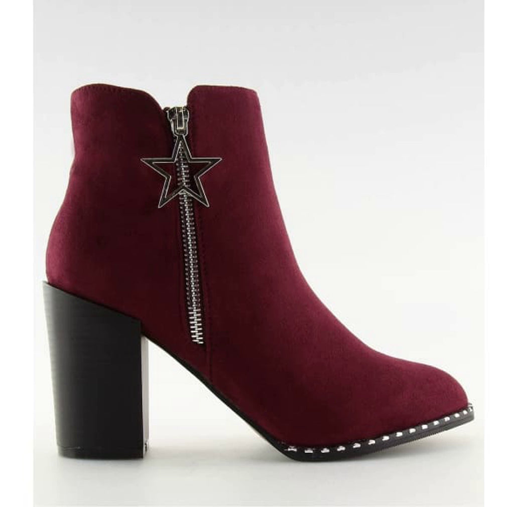 Ankle Block Heel Boots With Star Charm - Footwear Ankle boots, black footwear, black shoes, block heel boots, Booties