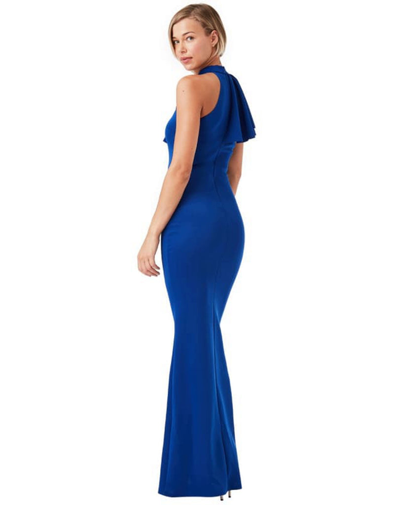 asymmetric-frill-detail-maxi-dress-blue-bodycon-dresses