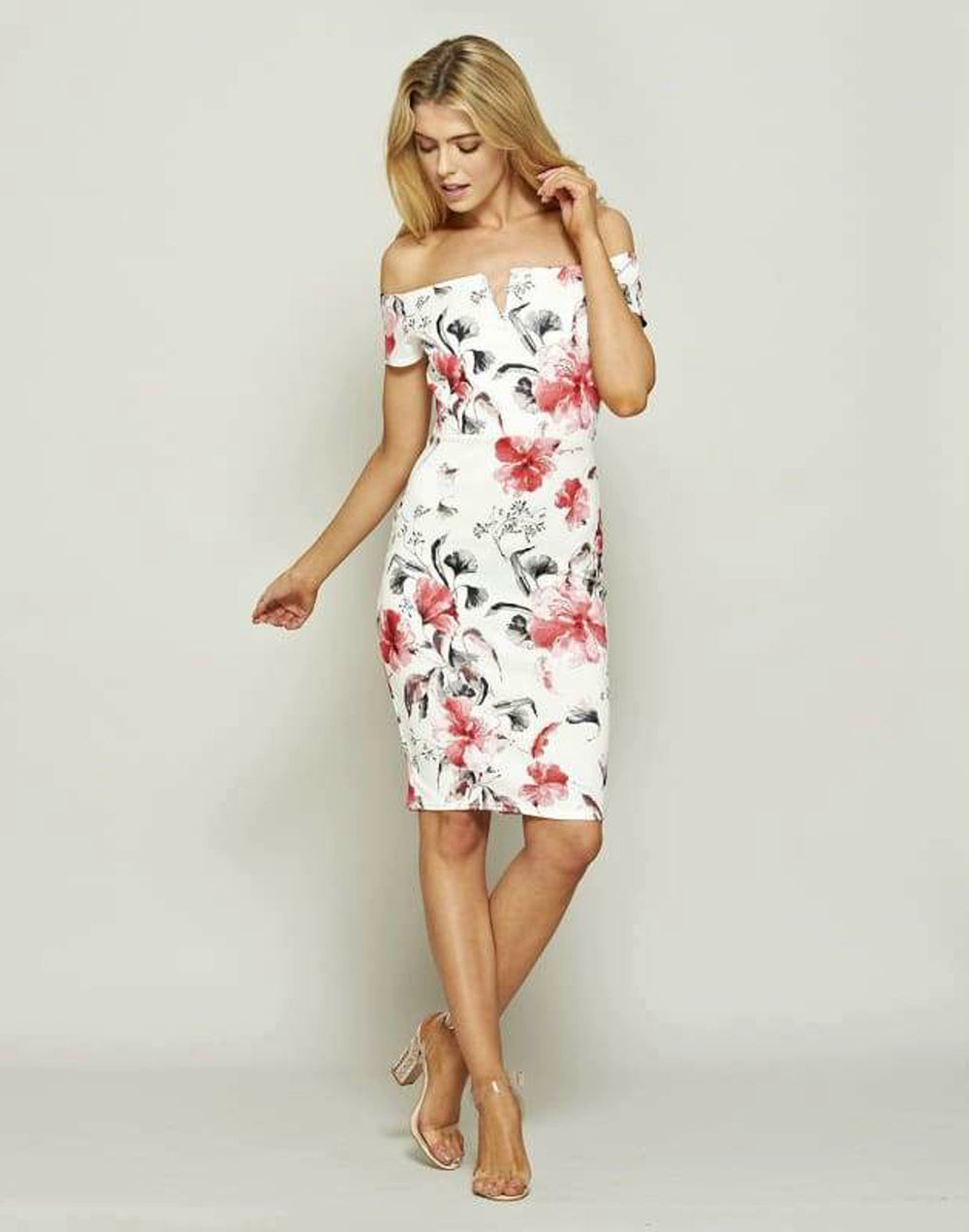 Bardot Floral Midi Dress Bodycon
