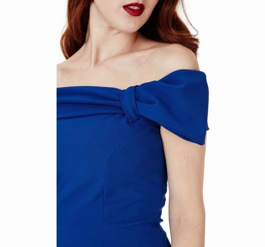 Bardot Midi Dress With Bow Detail