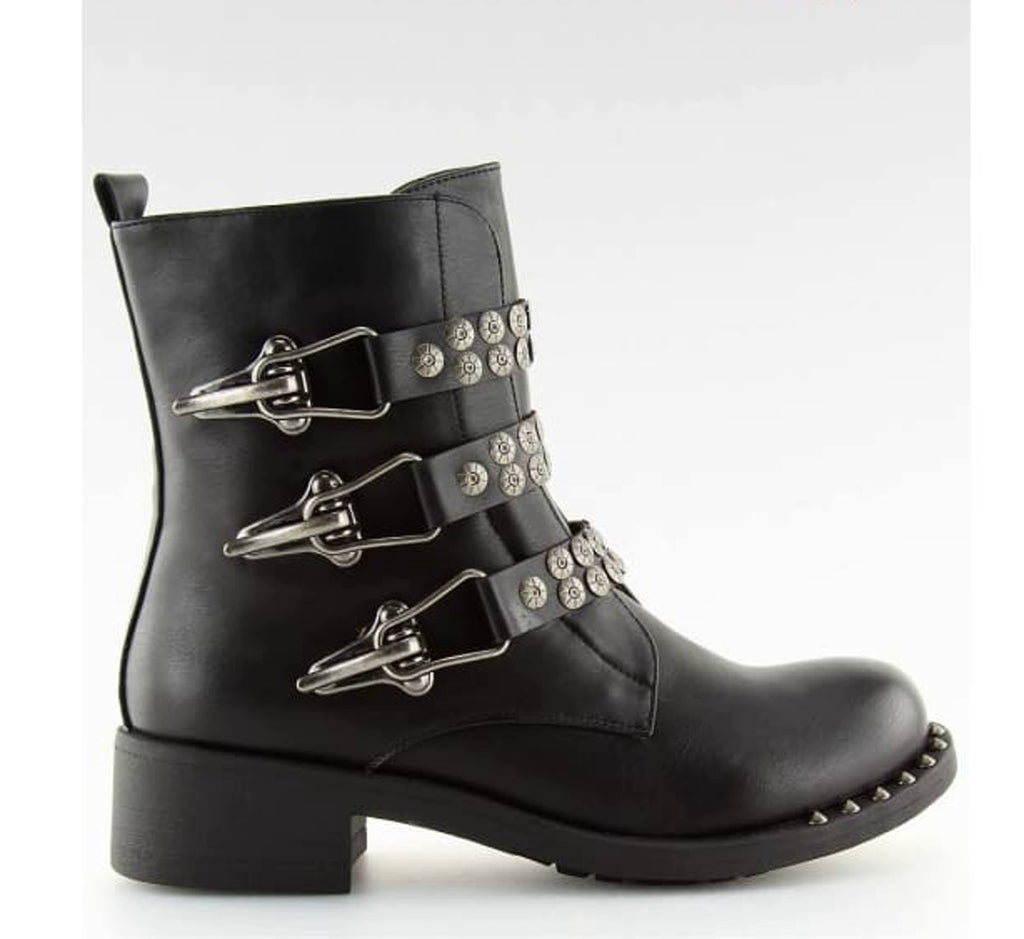 Black Biker Ankle Boots with 3 Buckles - Footwear Ankle boots, biker boots, black, black boots, block heel boots