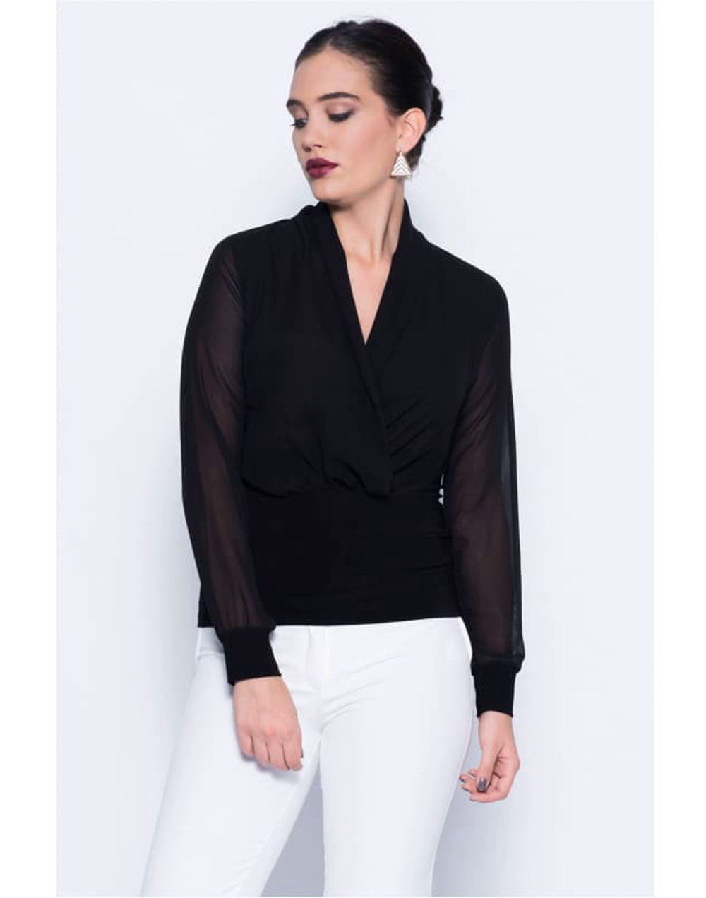 Black Wrap Over Blouse - Tops & Shirts Black black blouses black tops blouse blouses