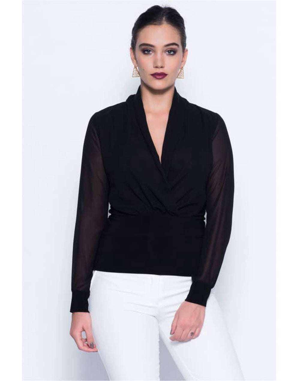 Black Wrap Over Blouse