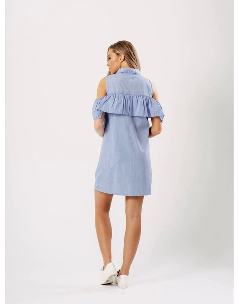 Blue Stripe Cold Shoulder Frill Detail Dress -Shift Dress