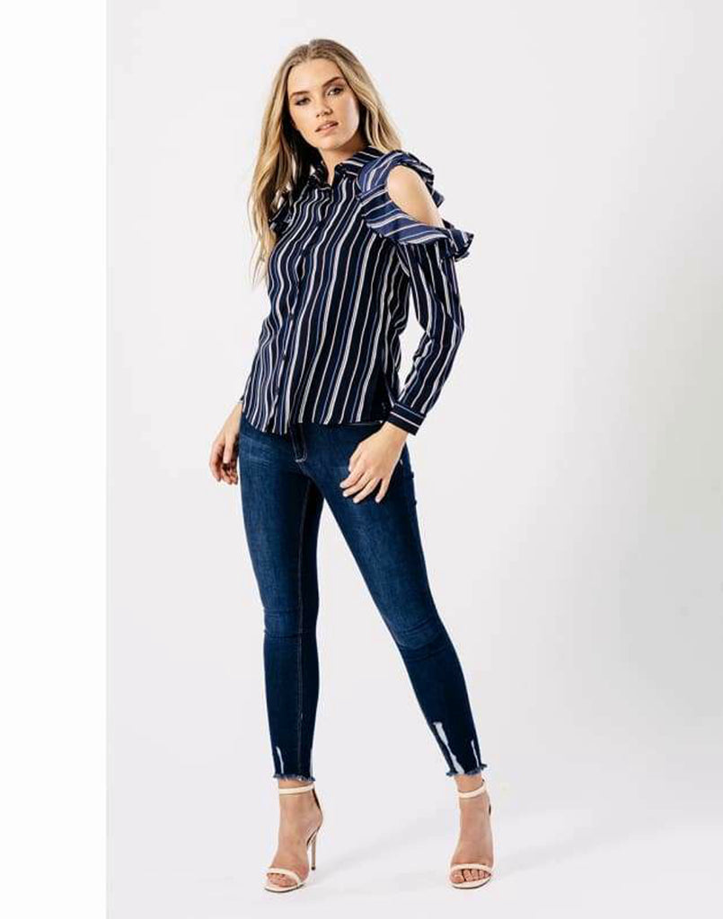 Blue Stripe Cold Shoulder Frill Shirt -Long Sleeve