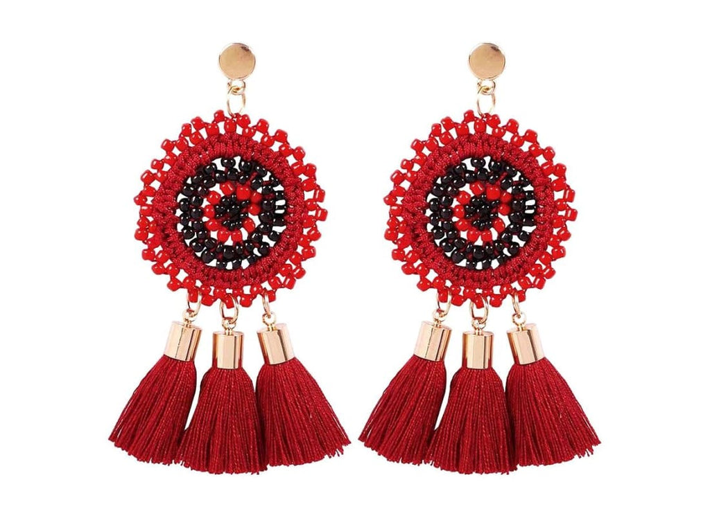 Bohemian Tassel Drop Stud Earrings - One Size / Red - Earrings Women's Accessories Bohemian Earrings Circle Stud earrings Dangle Earrings Handmade  Beaded Earrings