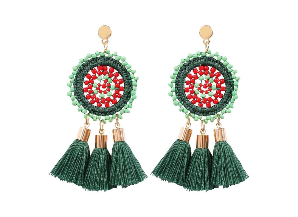 Bohemian Tassel Drop Stud Earrings - One Size / Green - Earrings Women's Accessories Bohemian Earrings Circle Stud earrings Dangle Earrings Handmade  Beaded Earrings