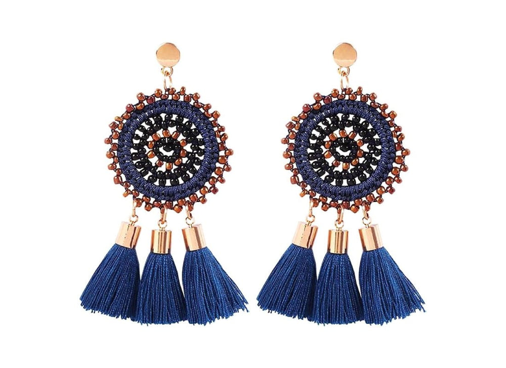 Bohemian Tassel Drop Stud Earrings - One Size / Navy Blue - Earrings Women's Accessories Bohemian Earrings Circle Stud earrings Dangle Earrings Handmade  Beaded Earrings