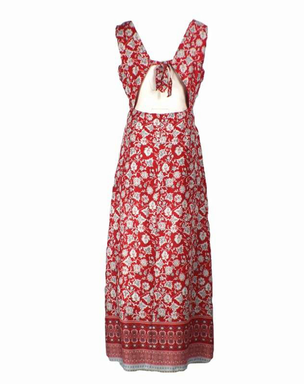 Back View Border Print Tie Back Maxi Dress - Red Colour playsuit maxi dress sleeveless dress