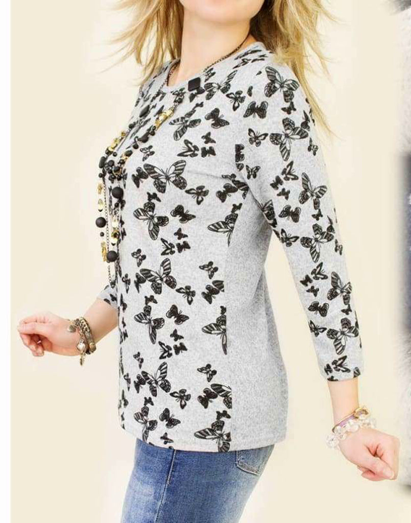 Butterfly Print Sweat Top- Front view navy blue top long sleeve top Sweatshirt  Edit alt text