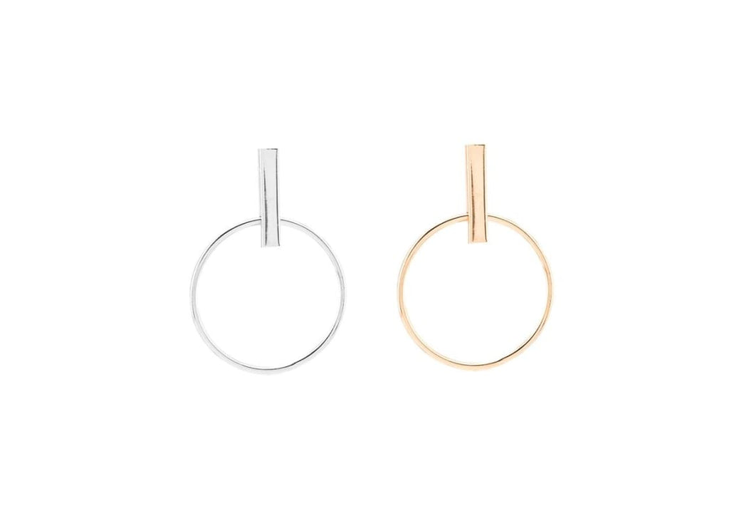 Circle Drop Bar Stud Earrings - Colour Silver and Gold Dangle Earrings