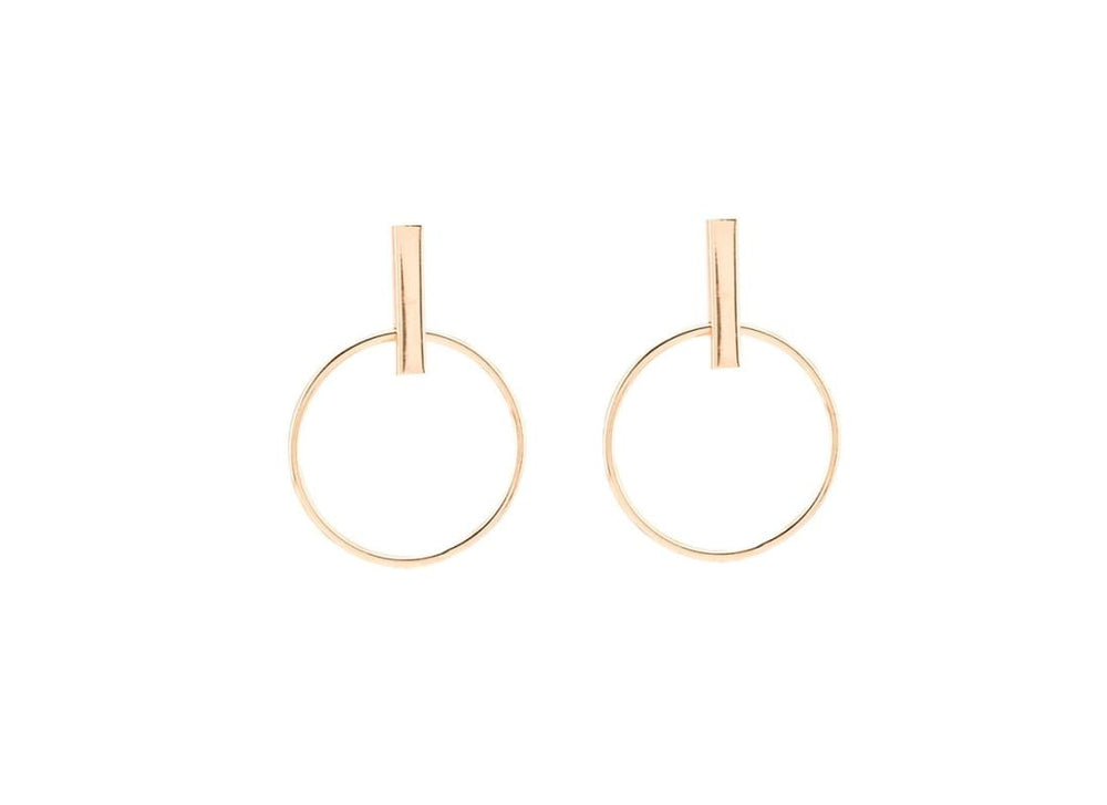 Circle Drop Bar Stud Earrings - Colour  Gold Dangle Earrings
