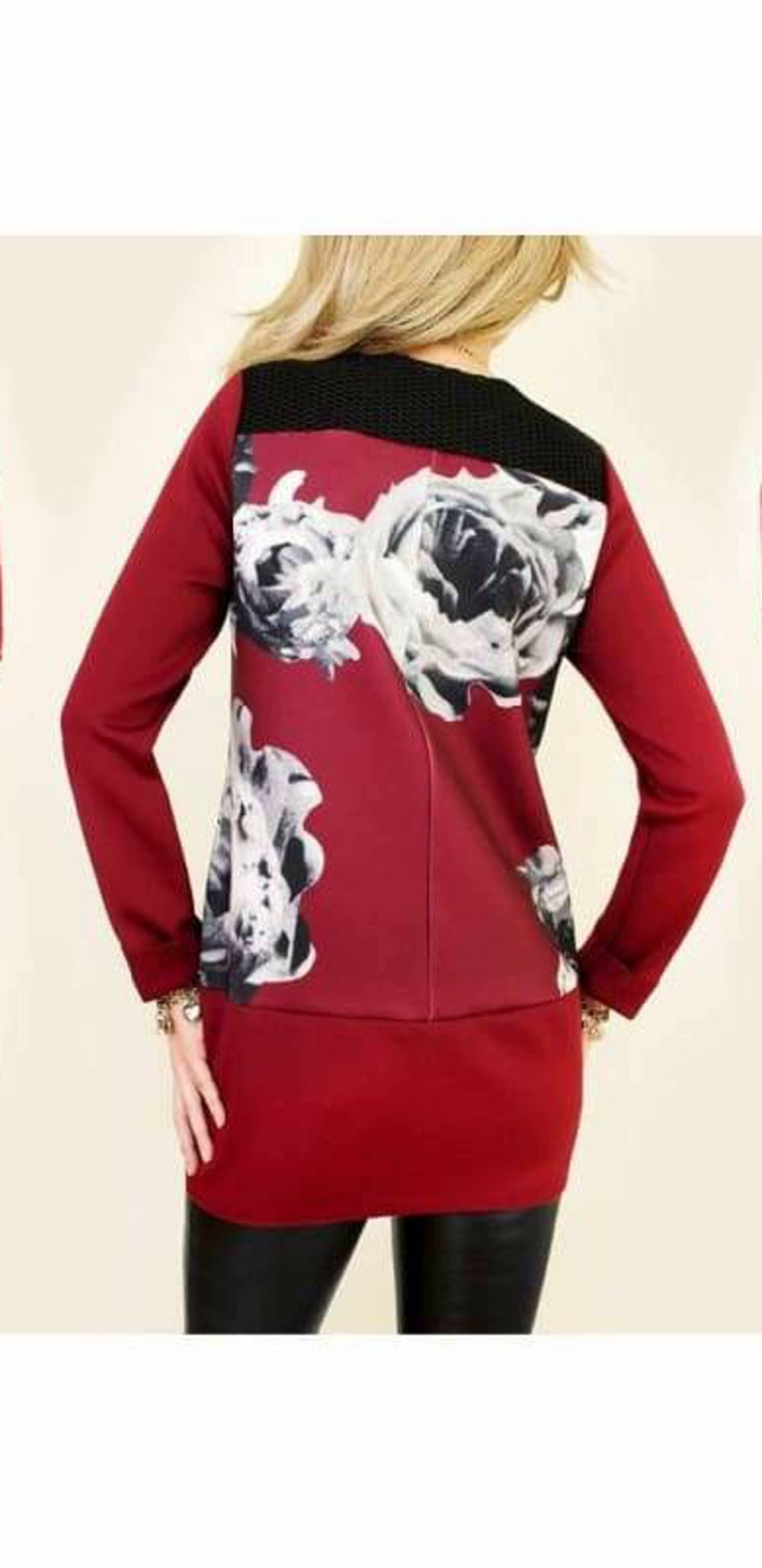 Coat with 3D Rose Effect - Red